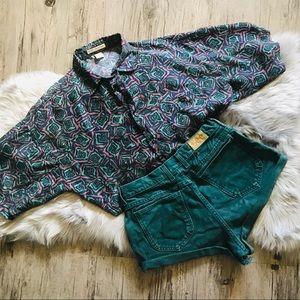 Vintage Tops - Vintage pattern silk top